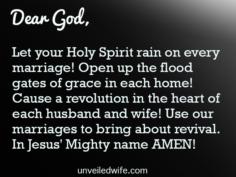 Dear God, Let your Holy Spirit rain on every marriage! Open up the flood gates of grace in each home! Cause a revolution in the heart of each husband and wife! Use our marriages to bring about revival. […]