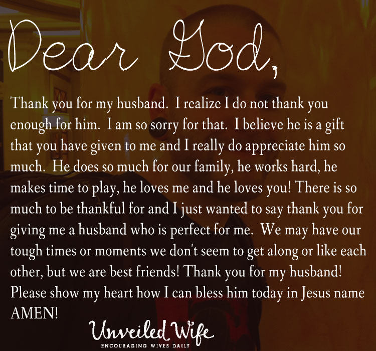 Thank You Quotes For Wife: Prayer: Thankful For My Husband