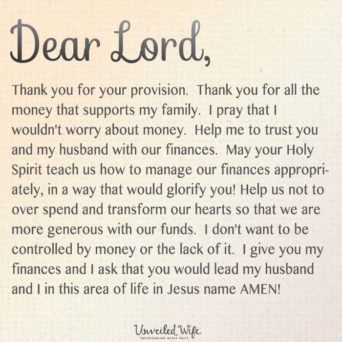Prayer Not Worrying About Money