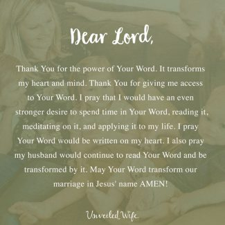 Prayer: Transformed By The Word